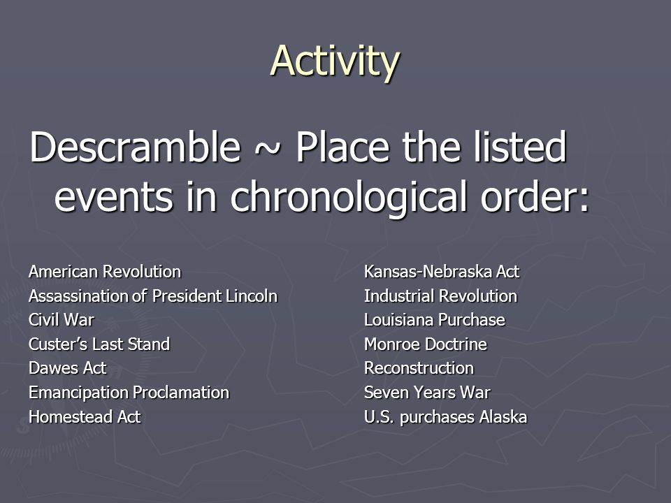 Descramble ~ Place the listed events in chronological order: