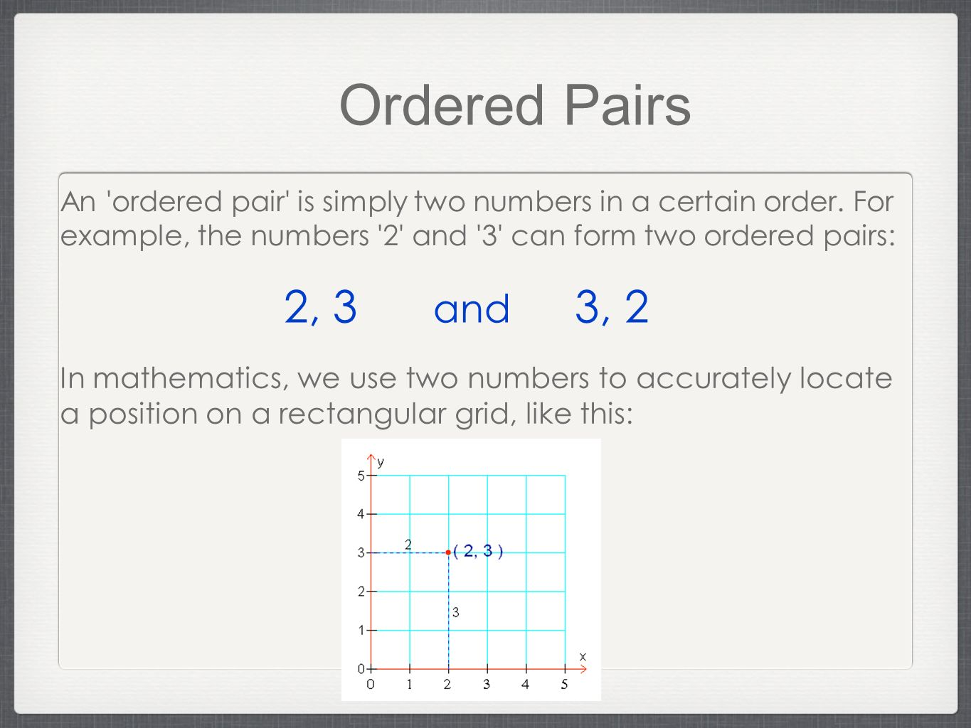 Ordered Pairs An ordered pair is simply two numbers in a certain order. For example, the numbers 2 and 3 can form two ordered pairs: