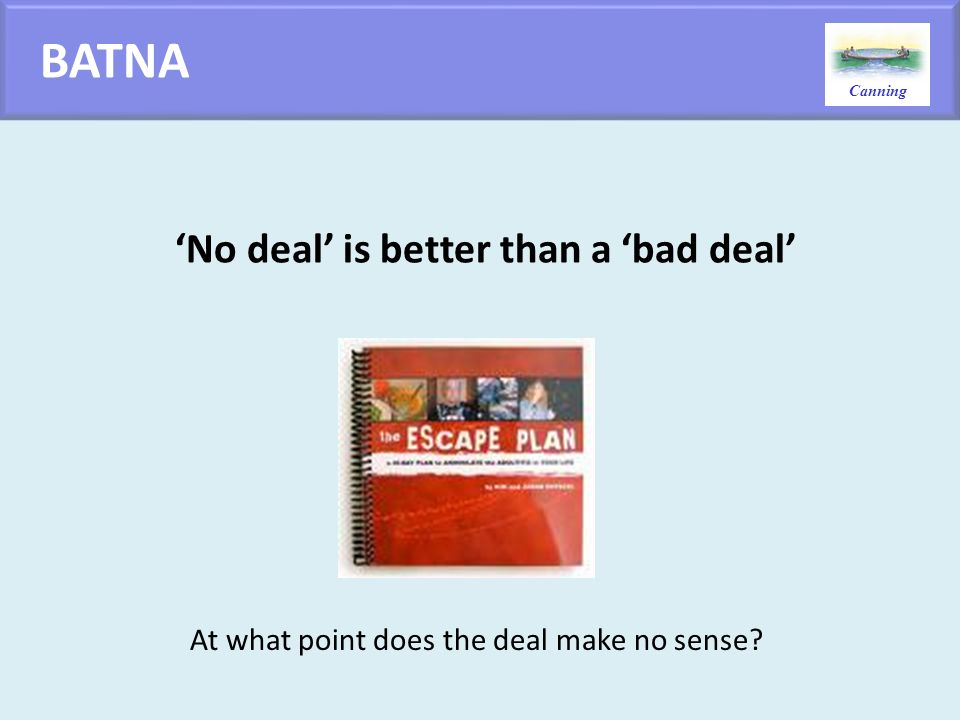 BATNA 'No deal' is better than a 'bad deal'