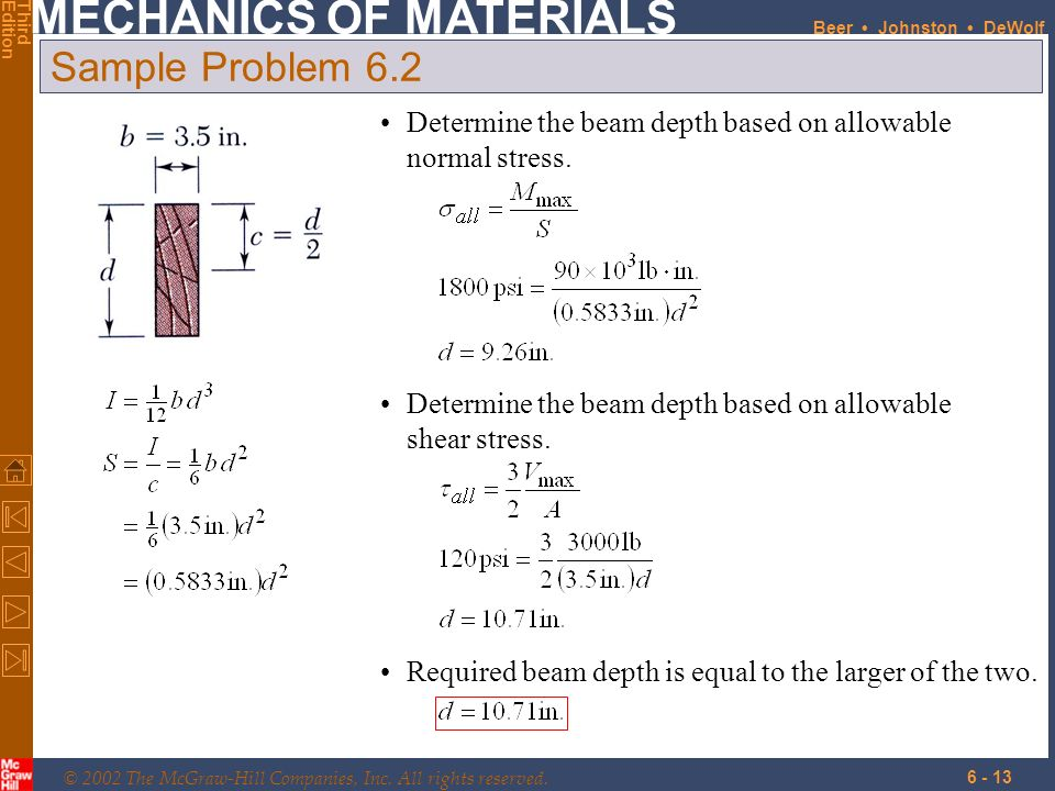 Sample Problem 6.2 Determine the beam depth based on allowable normal stress. Determine the beam depth based on allowable shear stress.