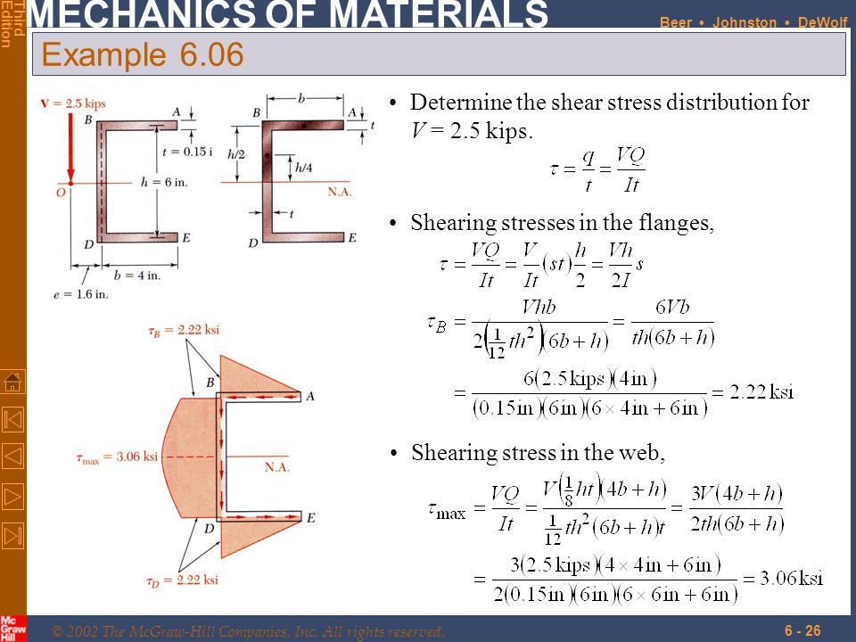 Example 6.06 Determine the shear stress distribution for V = 2.5 kips.