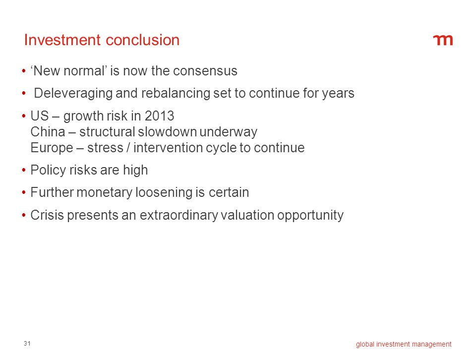 Investment conclusion