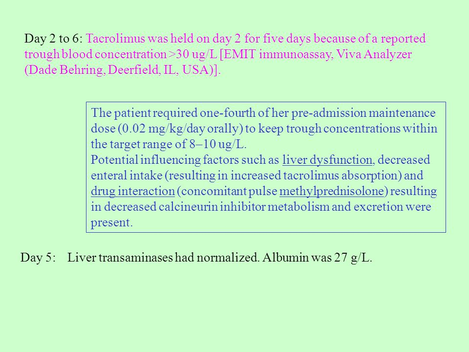 Day 2 to 6: Tacrolimus was held on day 2 for five days because of a reported trough blood concentration >30 ug/L [EMIT immunoassay, Viva Analyzer (Dade Behring, Deerfield, IL, USA)].