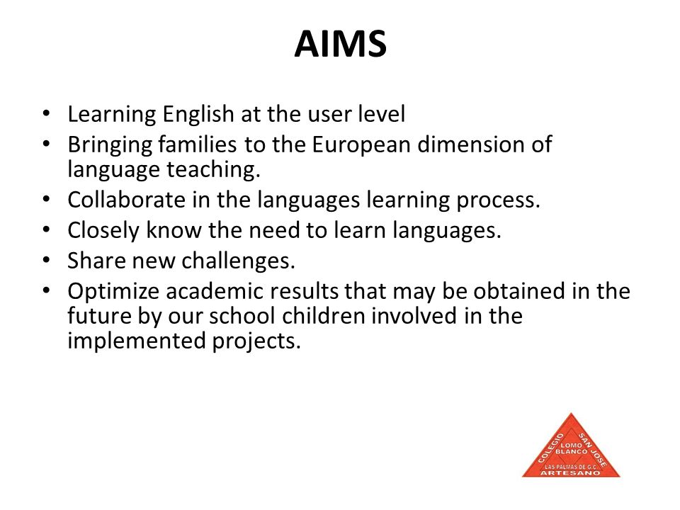 AIMS Learning English at the user level