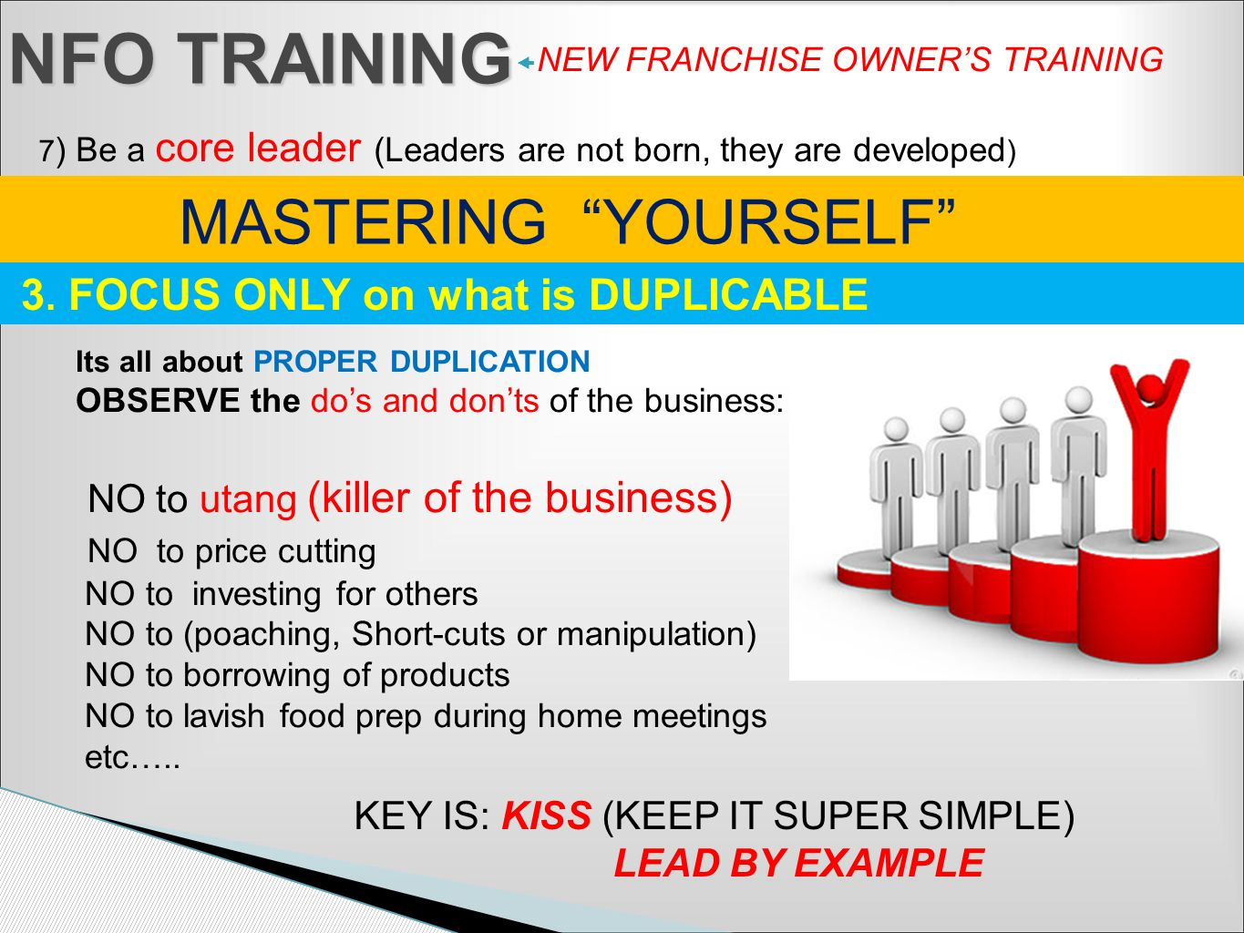 NFO TRAINING MASTERING YOURSELF 3. FOCUS ONLY on what is DUPLICABLE
