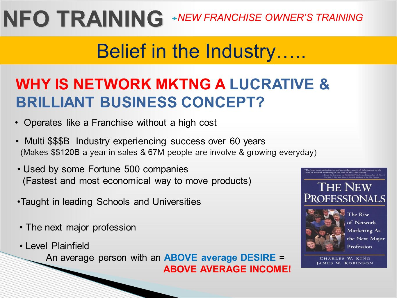 Belief in the Industry…..
