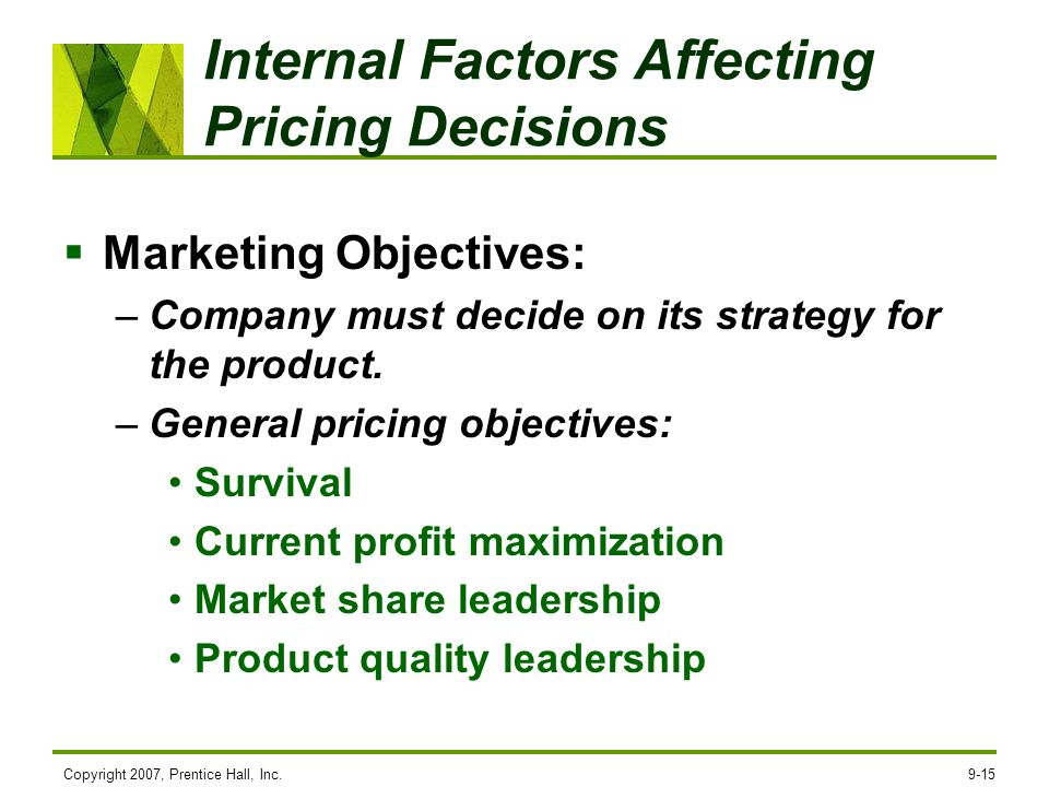 Internal Factors Affecting Pricing Decisions