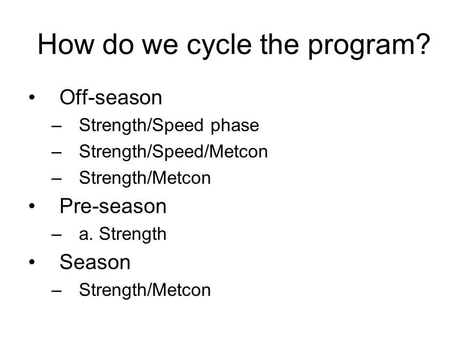 How do we cycle the program