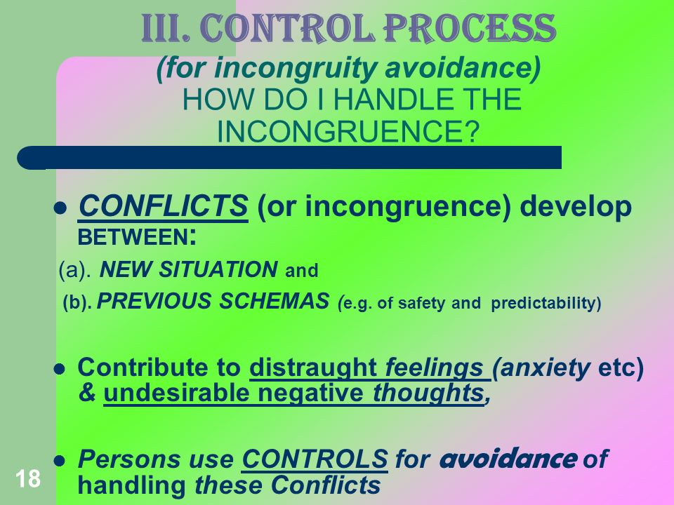 III. CONTROL PROCESS (for incongruity avoidance) HOW DO I HANDLE THE INCONGRUENCE