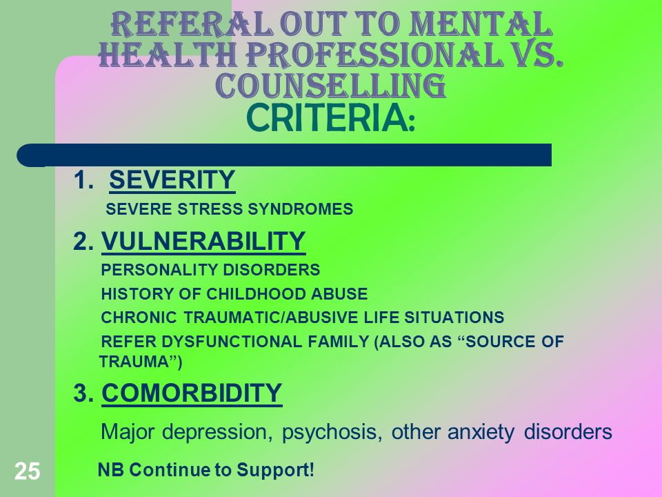 REFERAL OUT TO MENTAL HEALTH PROFESSIONAL VS. COUNSELLING CRITERIA:
