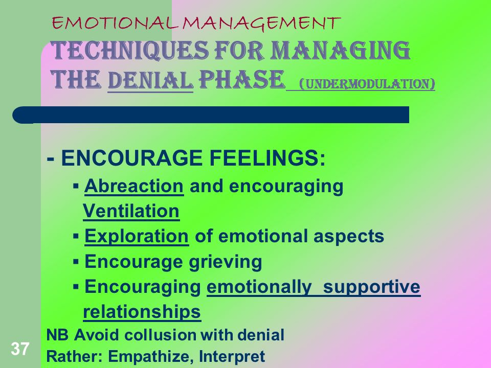 EMOTIONAL MANAGEMENT TECHNIQUES FOR MANAGING THE DENIAL PHASE (undermodulation)