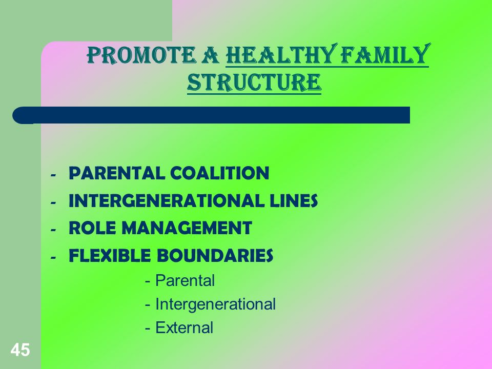 PROMOTE A HEALTHY FAMILY STRUCTURE