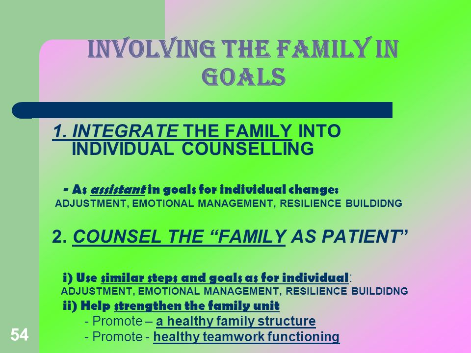 INVOLVING THE FAMILY IN GOALS