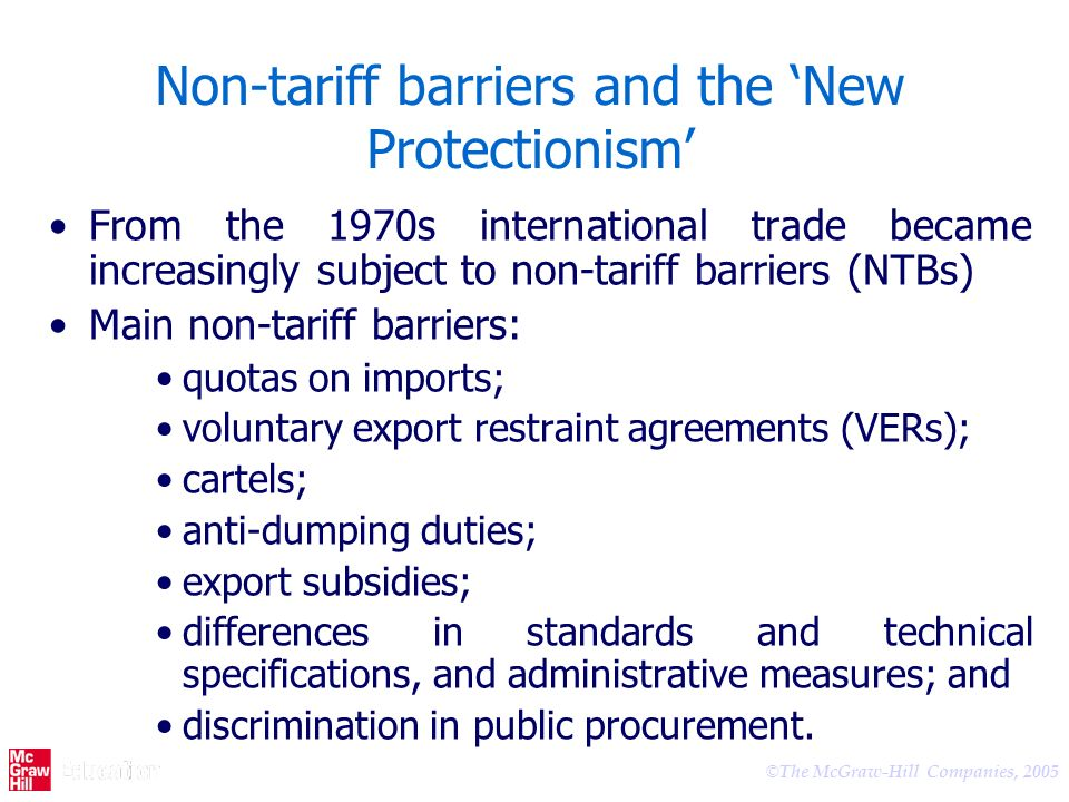 Non-tariff barriers and the 'New Protectionism'