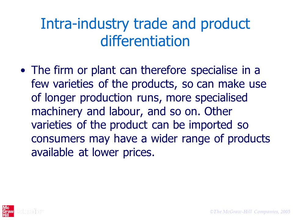 Intra-industry trade and product differentiation