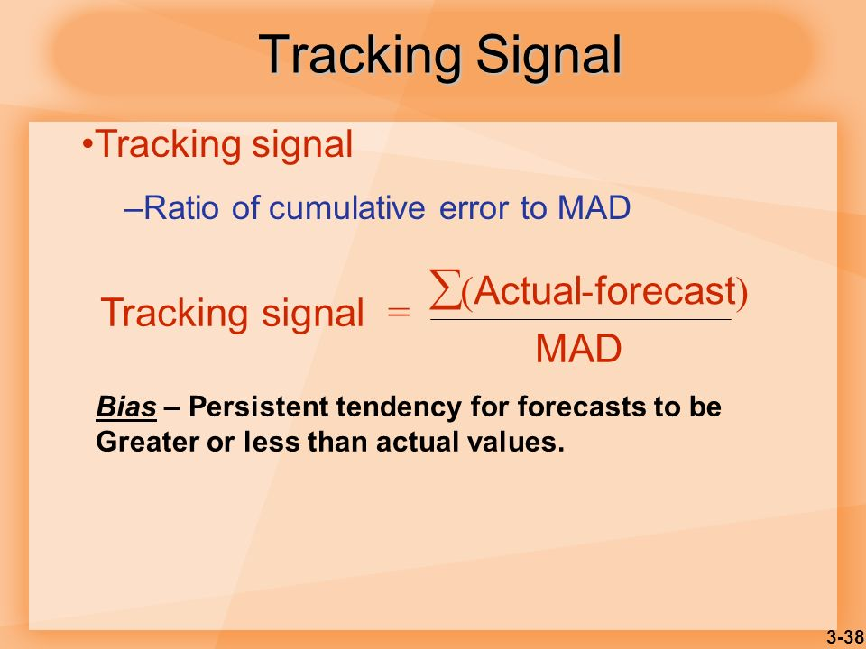 Tracking Signal  Tracking signal = (Actual - forecast) MAD