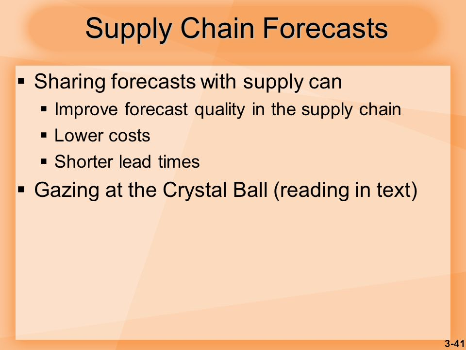 Supply Chain Forecasts