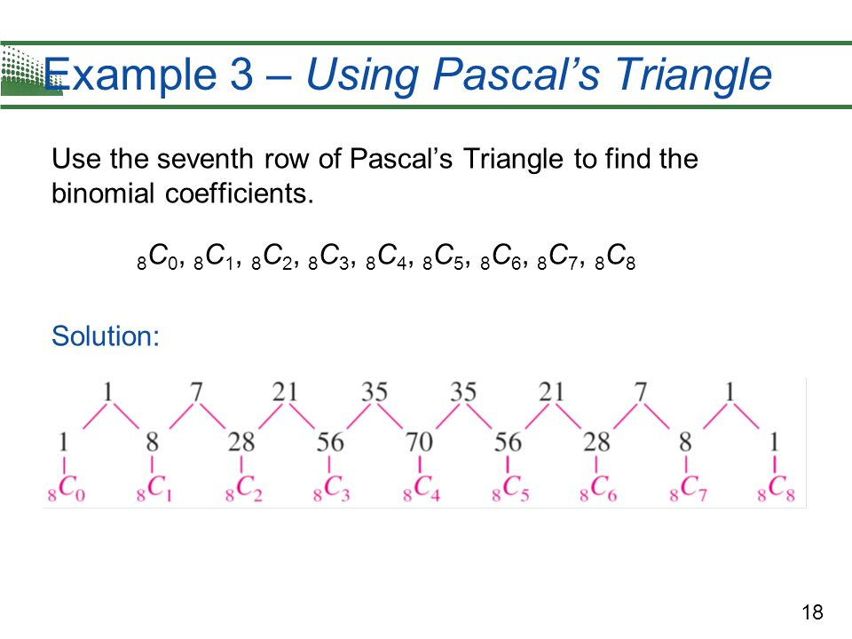 Example 3 – Using Pascal's Triangle