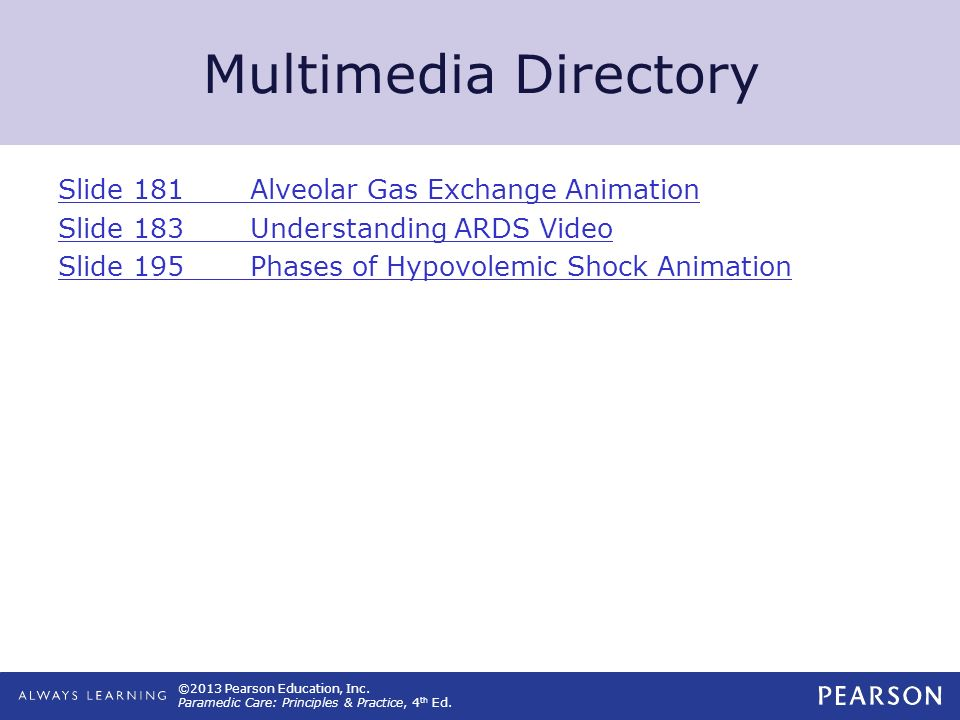 Multimedia Directory Slide 181 Alveolar Gas Exchange Animation