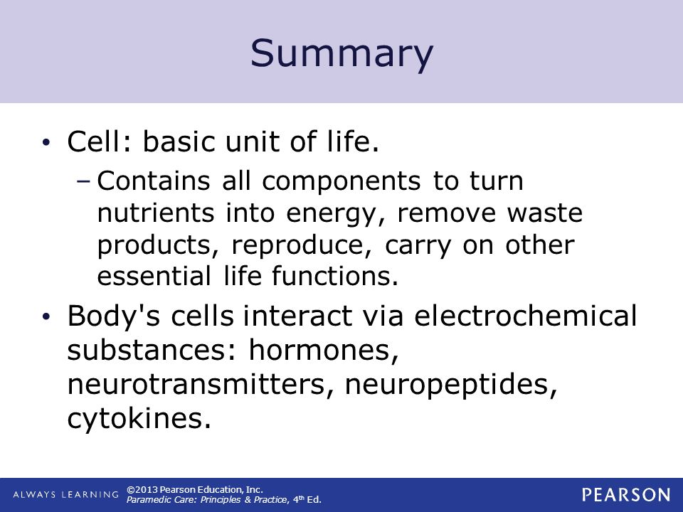 Summary Cell: basic unit of life.
