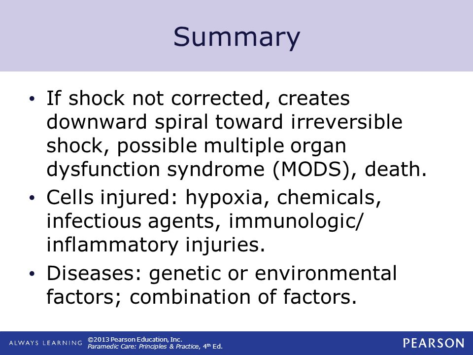 Summary If shock not corrected, creates downward spiral toward irreversible shock, possible multiple organ dysfunction syndrome (MODS), death.
