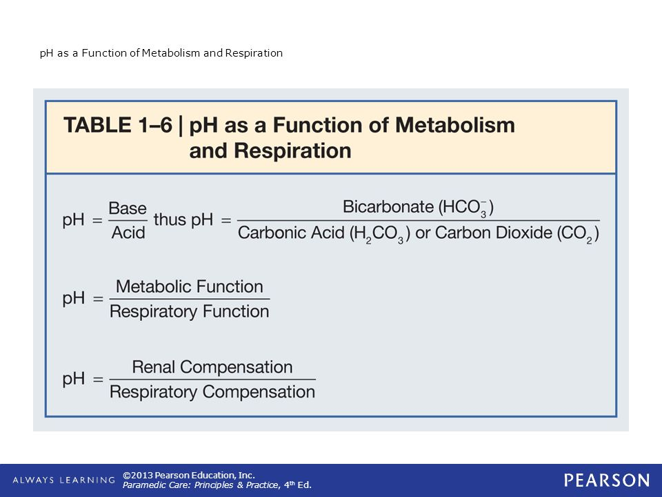 pH as a Function of Metabolism and Respiration