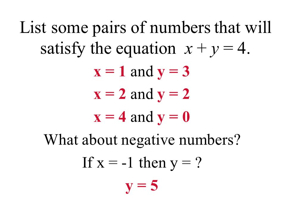 List some pairs of numbers that will satisfy the equation x + y = 4.