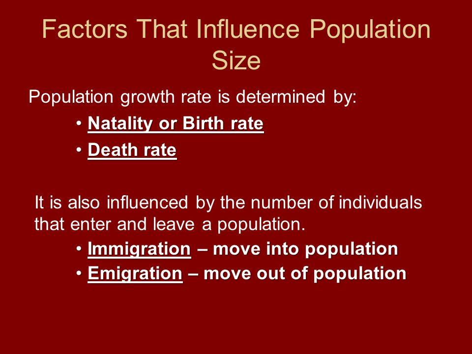 Factors That Influence Population Size