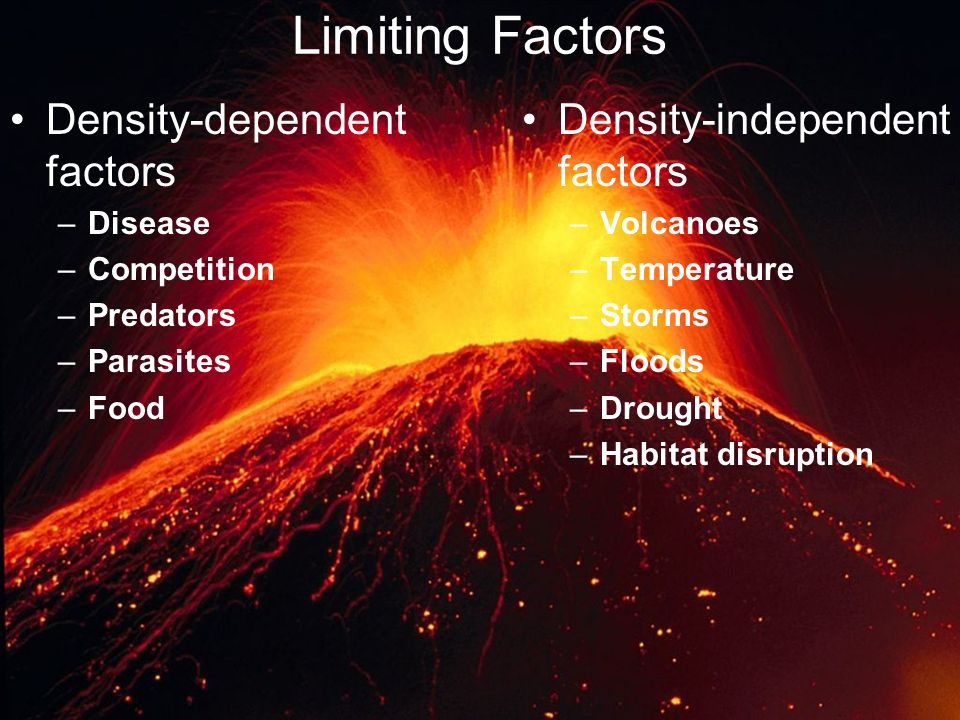 Limiting Factors Density-dependent factors Density-independent factors