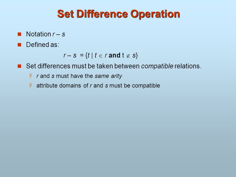 Set Difference Operation