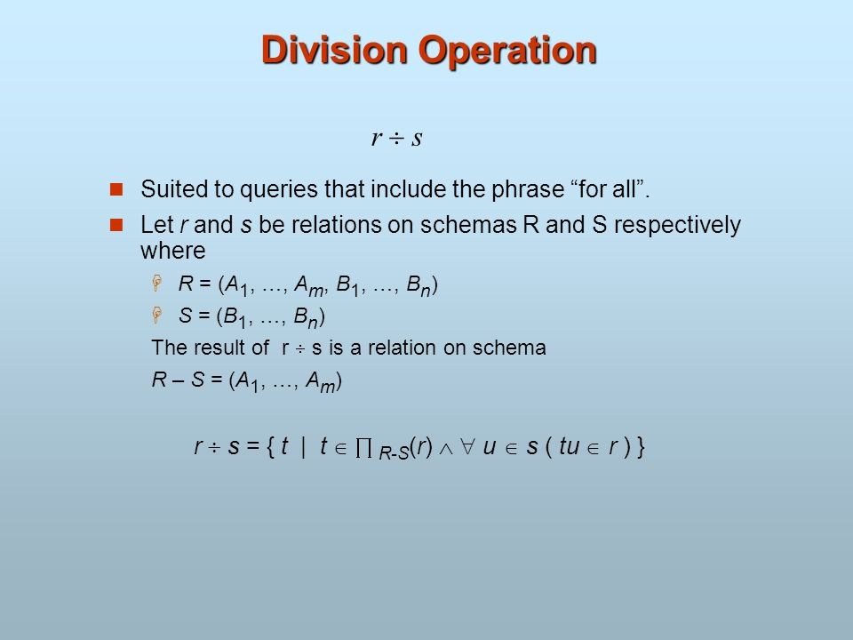 Division Operation r  s