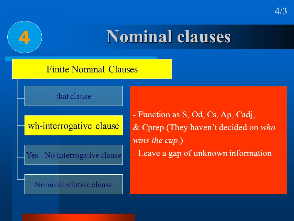 4 Nominal clauses 4/3 Finite Nominal Clauses wh-interrogative clause