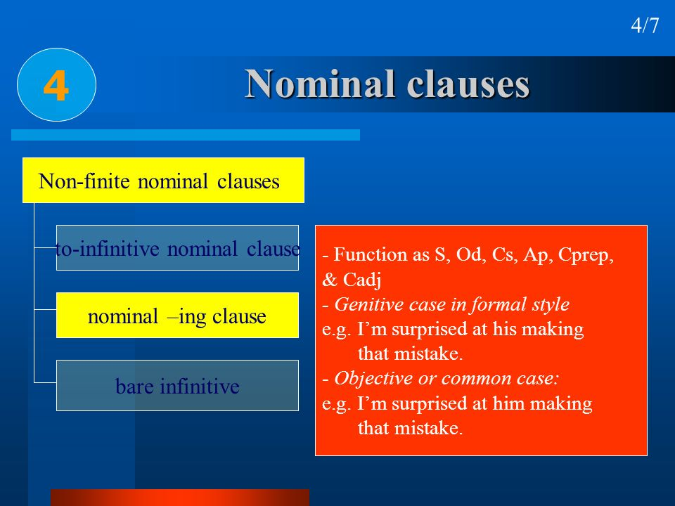 4 Nominal clauses 4/7 Non-finite nominal clauses