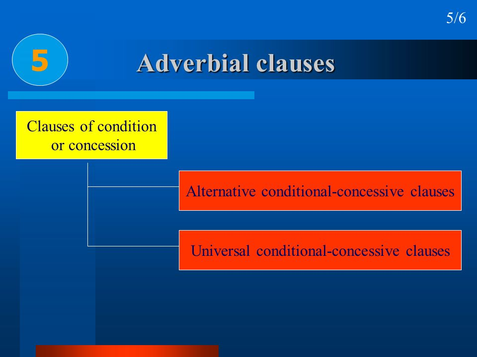 5 Adverbial clauses 5/6 Clauses of condition or concession