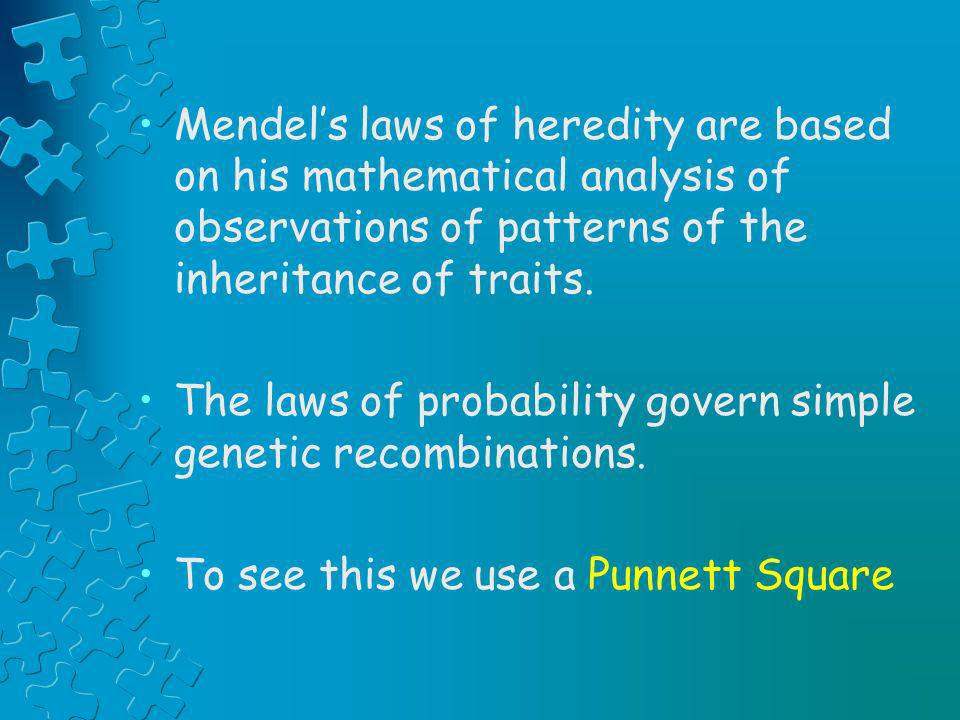 Mendel's laws of heredity are based on his mathematical analysis of observations of patterns of the inheritance of traits.