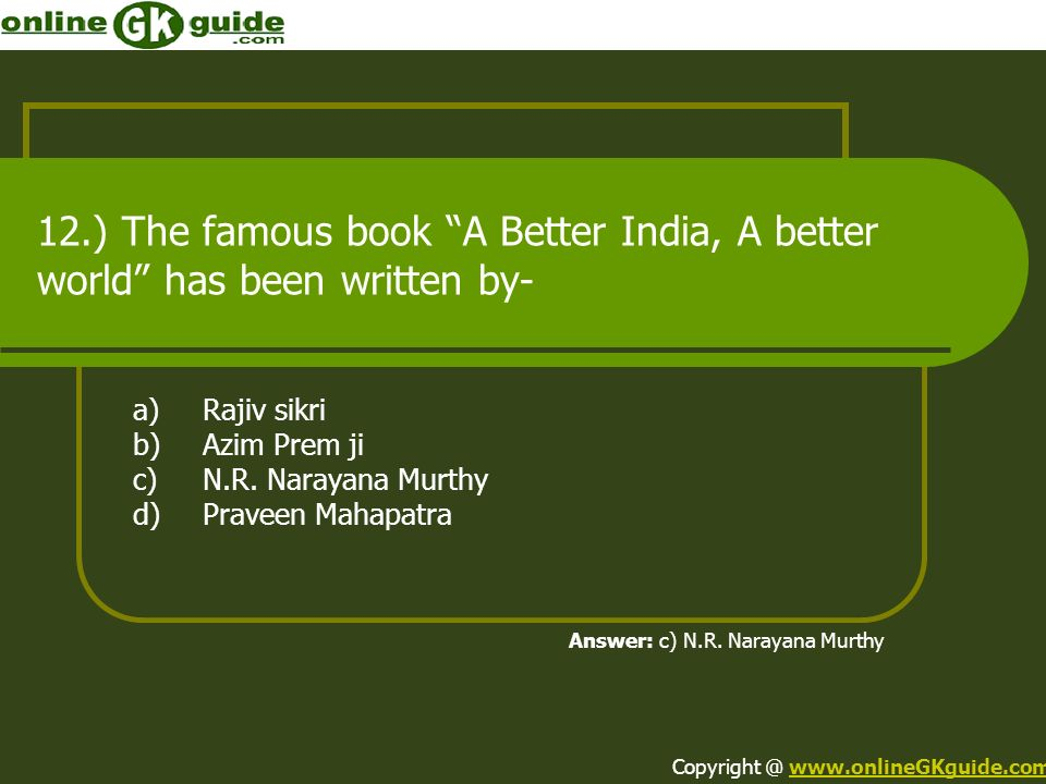 12.) The famous book A Better India, A better world has been written by-