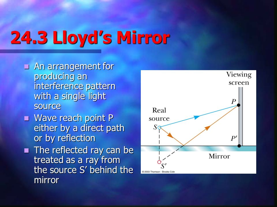 24.3 Lloyd's Mirror An arrangement for producing an interference pattern with a single light source.
