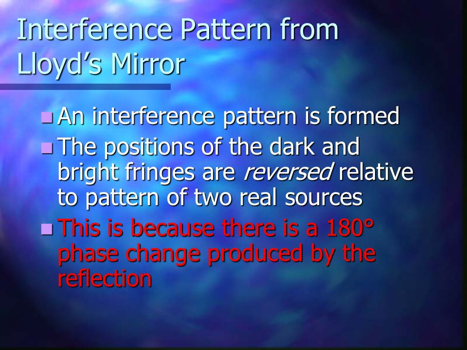 Interference Pattern from Lloyd's Mirror