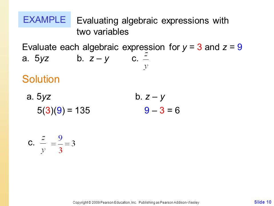 Solution EXAMPLE Evaluating algebraic expressions with two variables