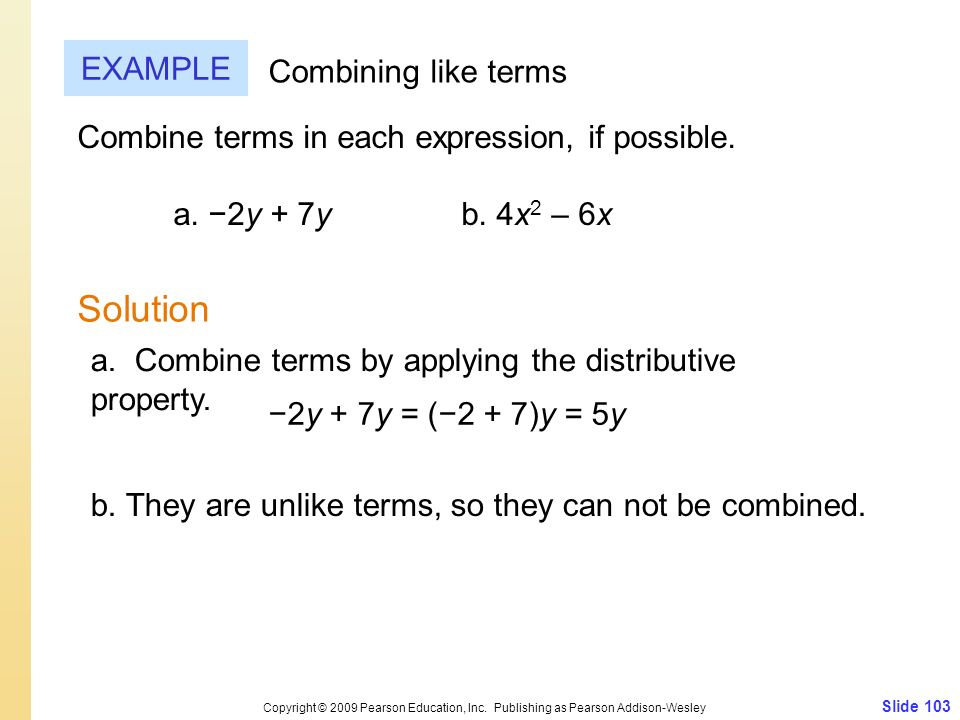 Solution EXAMPLE Combining like terms