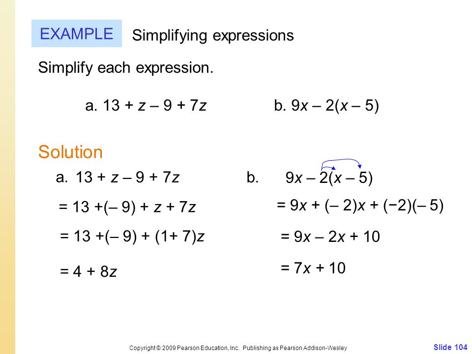 Solution EXAMPLE Simplifying expressions Simplify each expression.