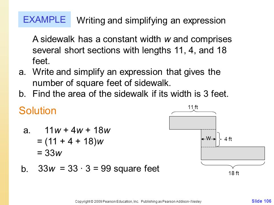 Solution EXAMPLE Writing and simplifying an expression