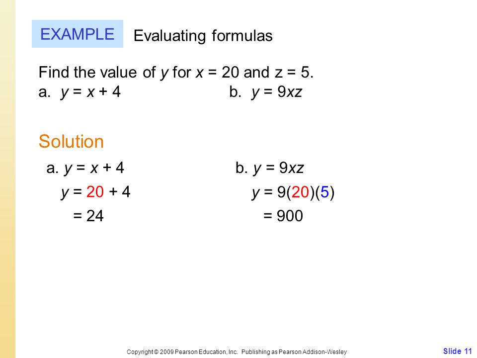 Solution EXAMPLE Evaluating formulas