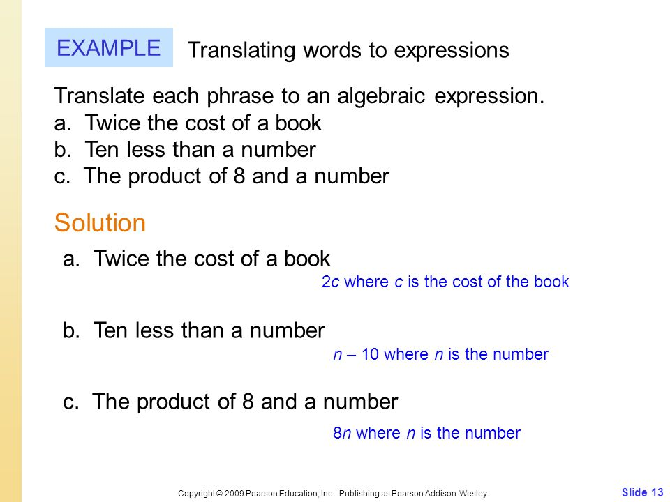 Solution EXAMPLE Translating words to expressions