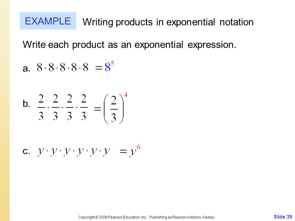 Writing products in exponential notation