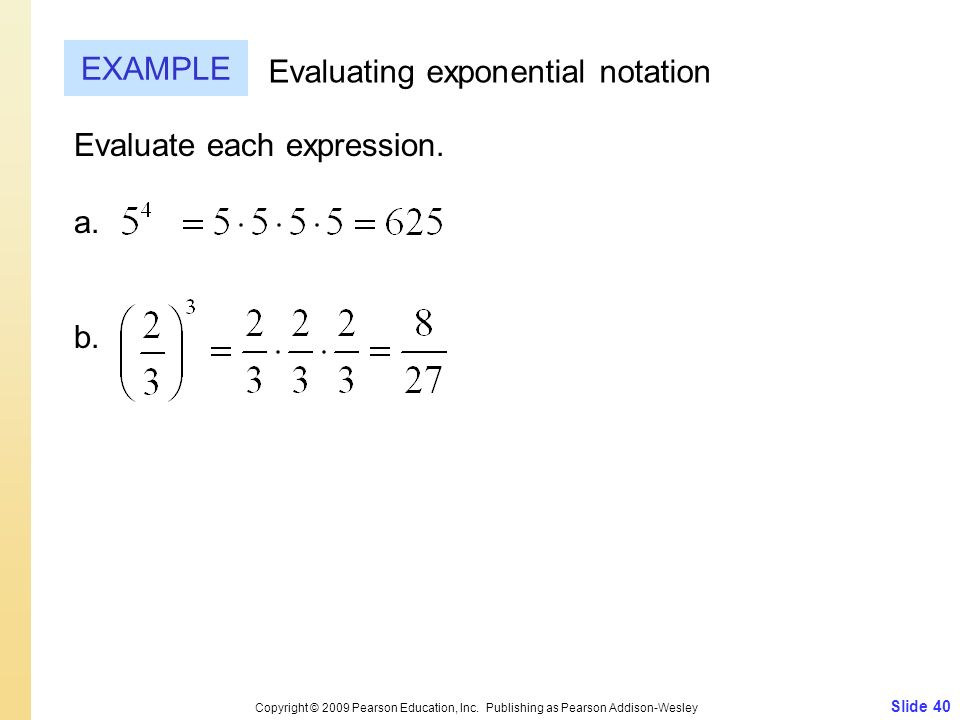 Evaluating exponential notation
