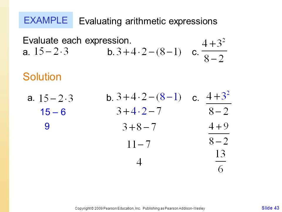 Solution EXAMPLE Evaluating arithmetic expressions