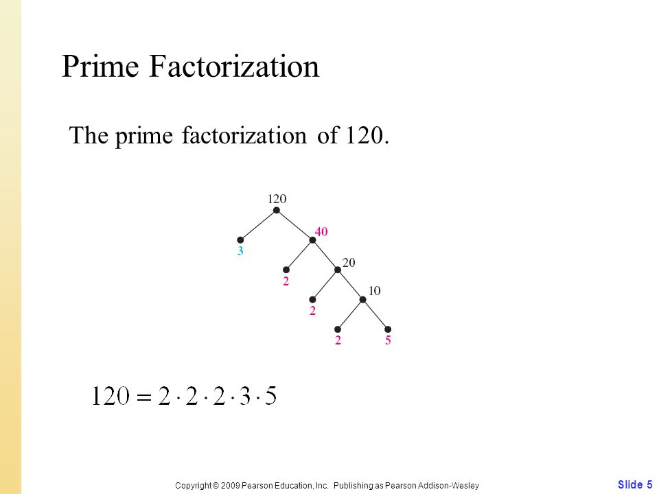 Prime Factorization The prime factorization of 120.