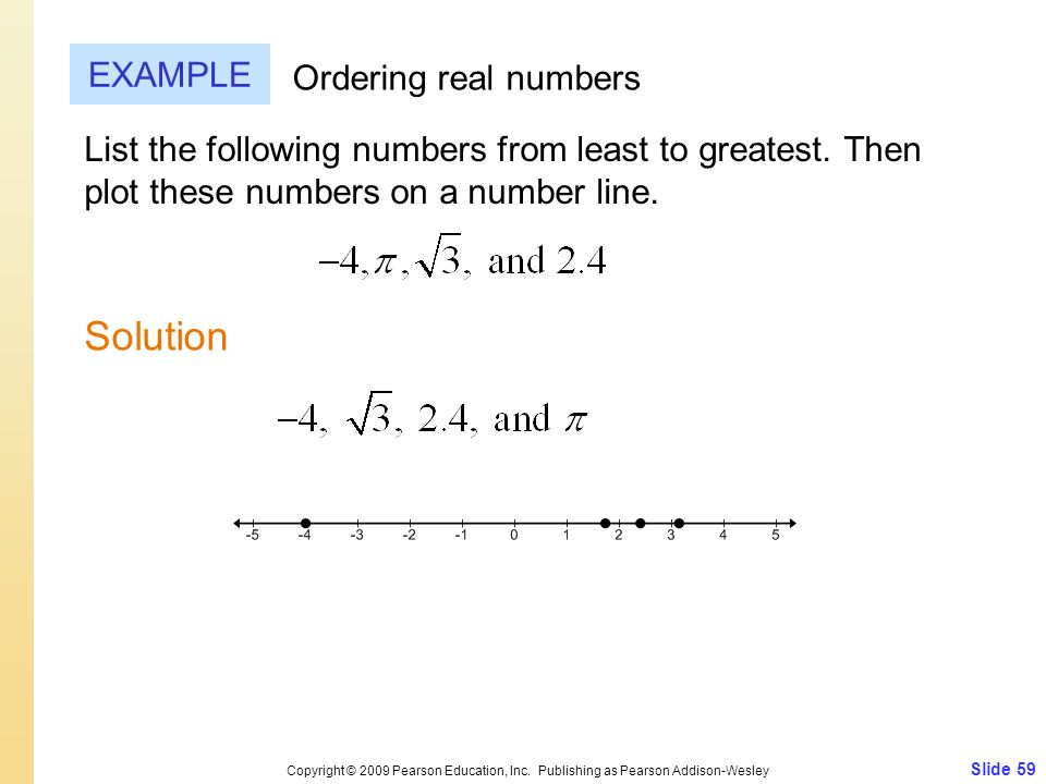 Solution EXAMPLE Ordering real numbers