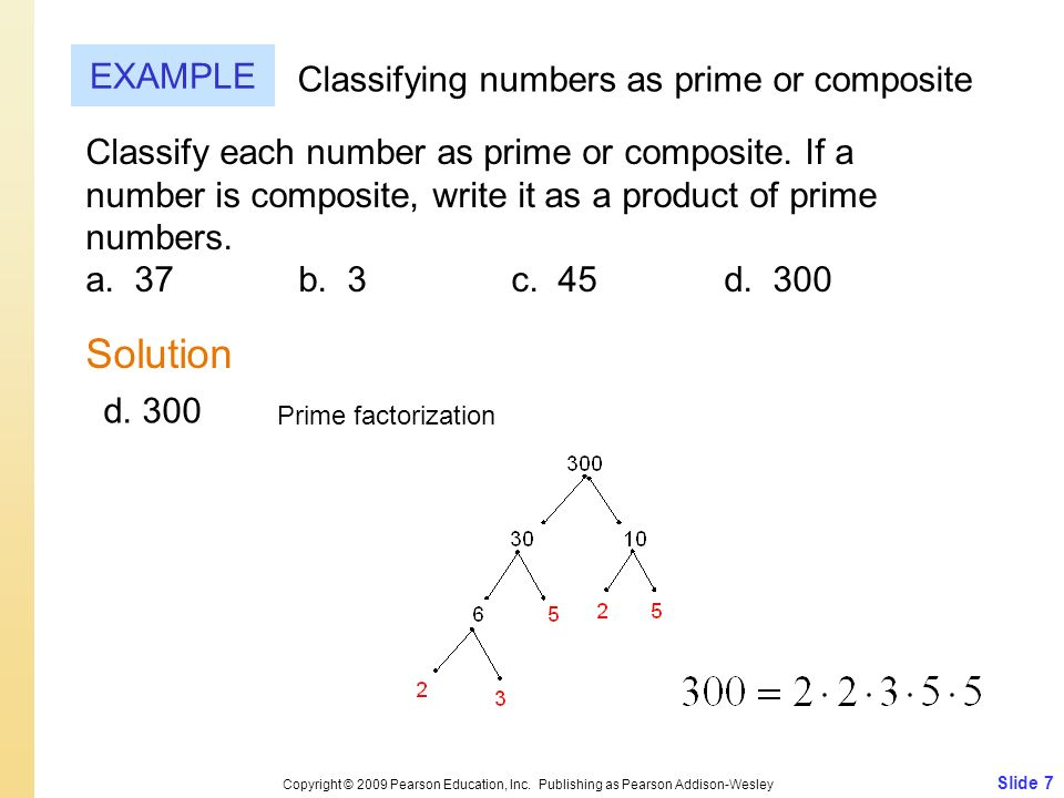 Solution EXAMPLE Classifying numbers as prime or composite